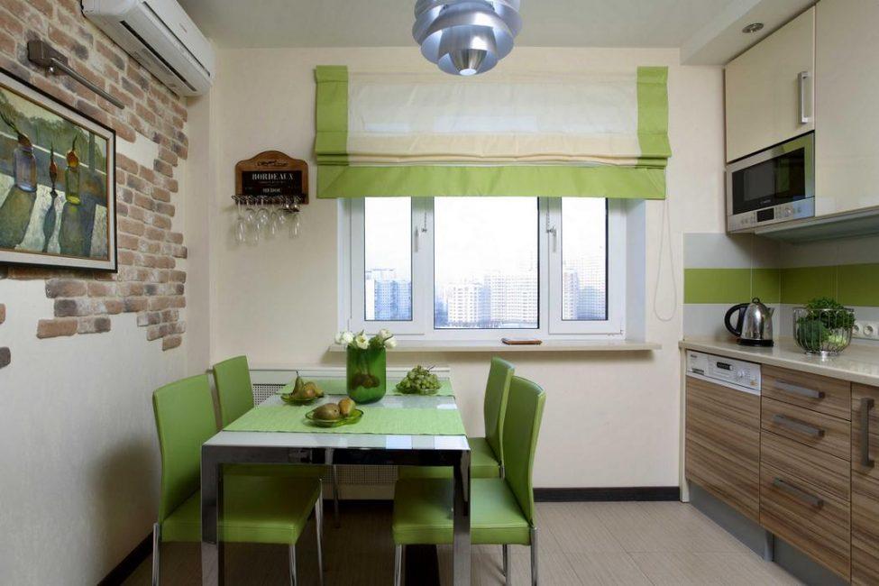 Unsur-unsur kecil dan terang membuat dapur lebih segar.