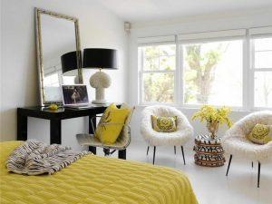 Kontrastların psikolojisi: 105+ İç kısımdaki sarı renk kombinasyonlarının fotoğrafları. Tüm artılar ve eksiler