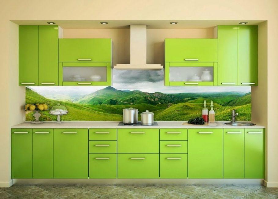 Πράσινη κουζίνα στο εσωτερικό