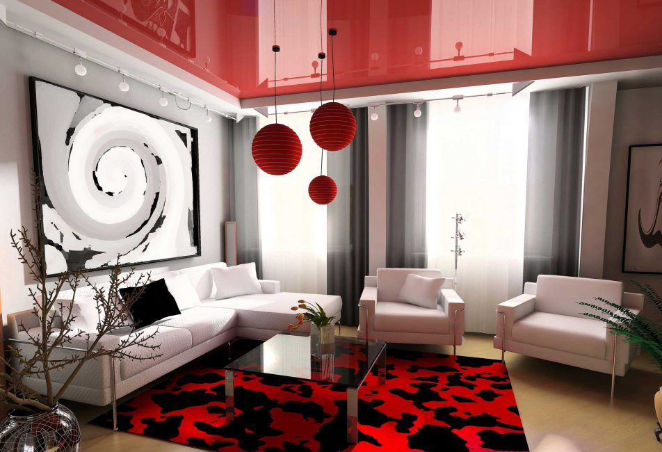 Ruang tamu berwarna merah dan putih dalam gaya moden
