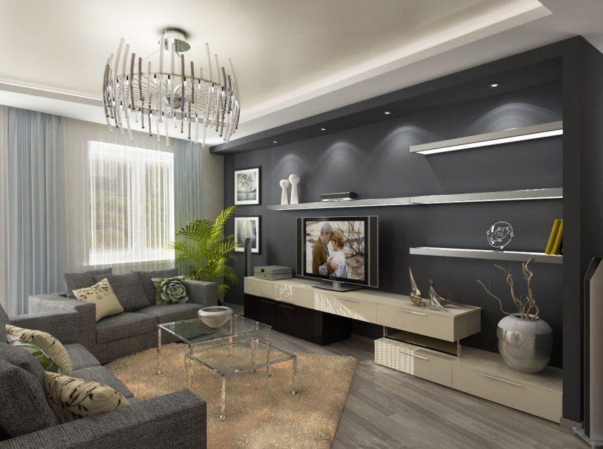 Ruang tamu yang cantik dan bergaya dengan nada kelabu.