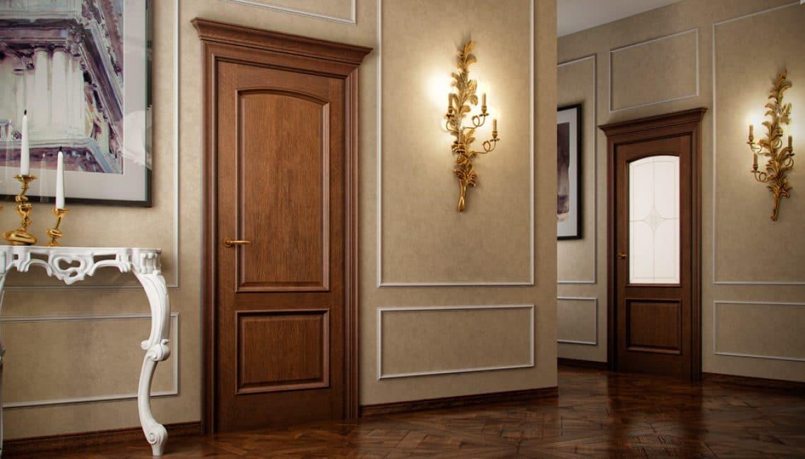 Kapıda nötr renk - en çok doğal ahşaptır