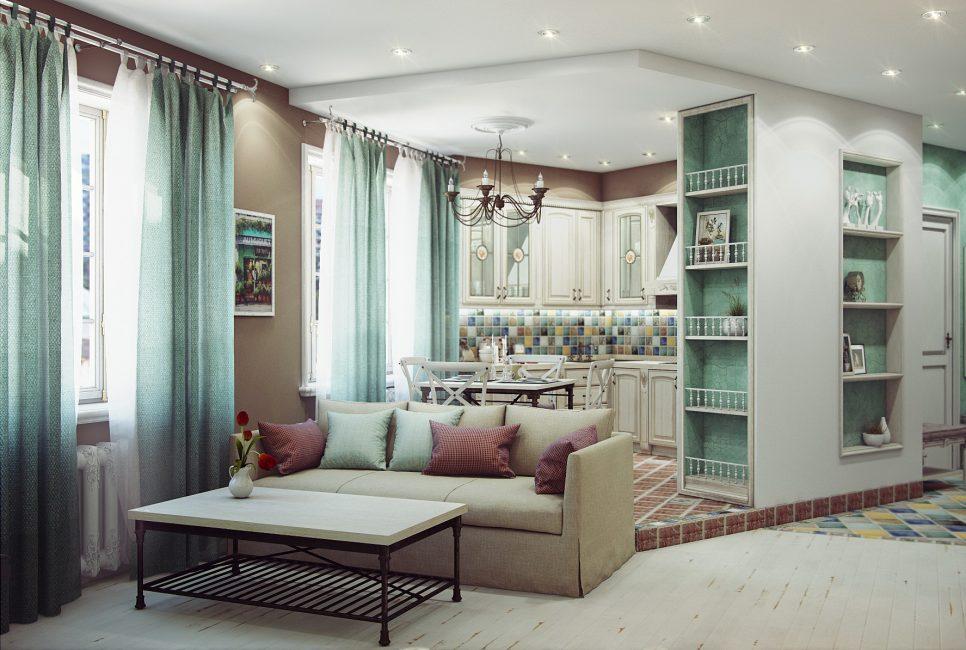 Dapur digabungkan dengan ruang tamu