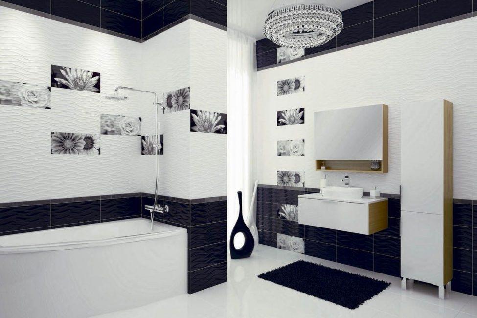 Küçük bir banyo için, tek sesli bir kompozisyon seçmek daha iyidir.