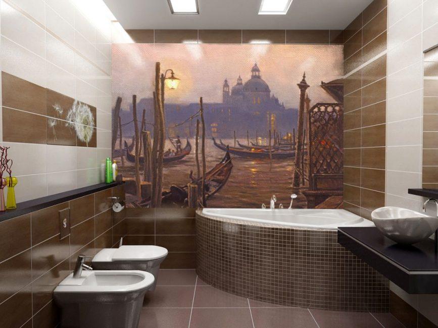 Bilik mandi klasik dihiasi dengan bentuk geometri.