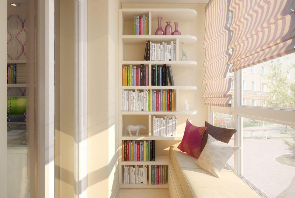 Balkonda küçük bir kütüphane