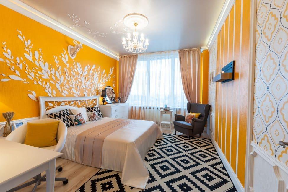 Güzel, aydınlık oda dekorasyonu