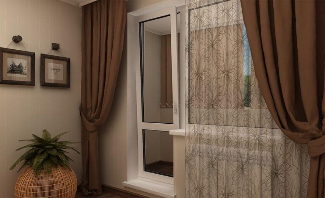 Langsir di pintu balkoni bersiap sedia atau menjahit tangan mereka sendiri