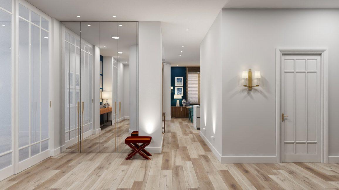 Reka bentuk berjubin meniru kayu dan tekstur dan corak lain.