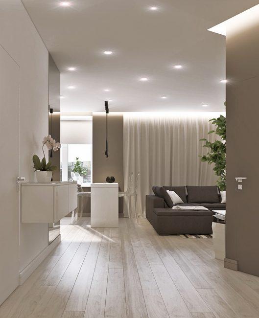 Bahagian dalam lorong dalam gaya minimalis.