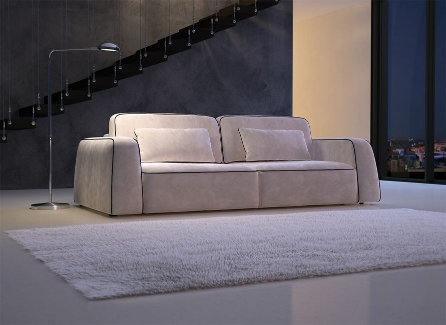 Velor beige sofa