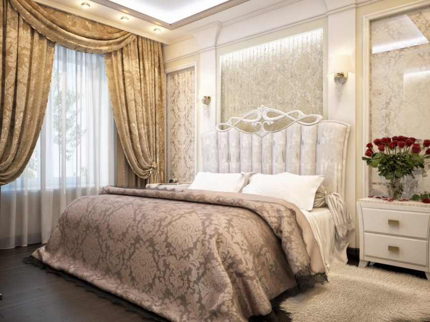 Bilik tidur reka bentuk dalaman dalam gaya klasik.