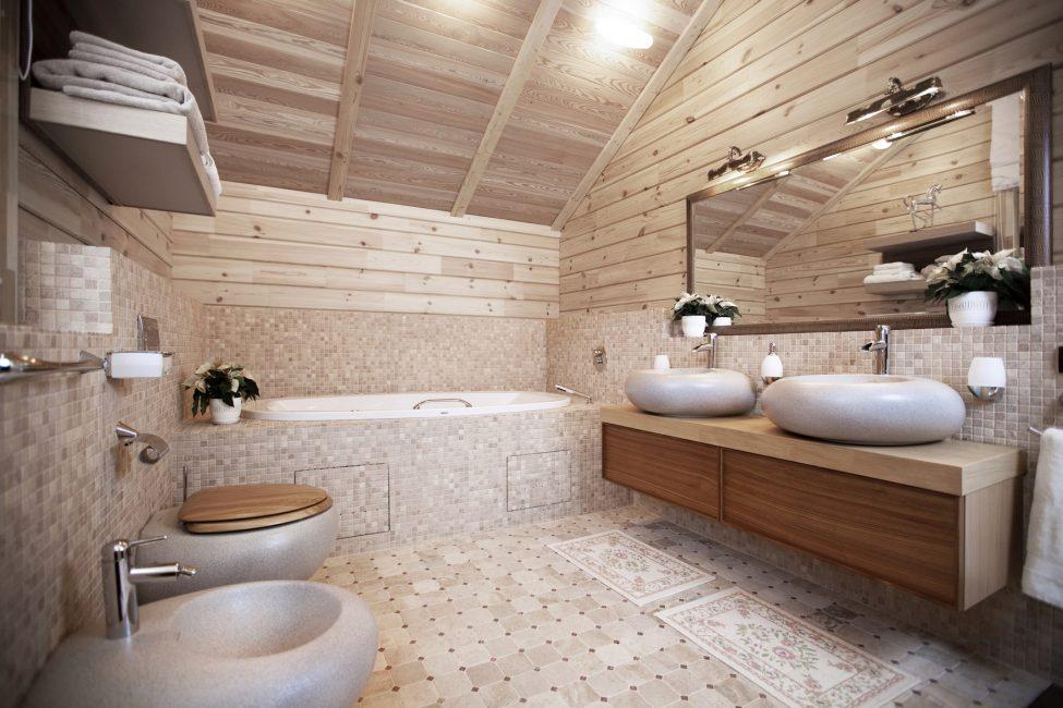 Taş lavabo ve tuvalet ile güzel bir banyo