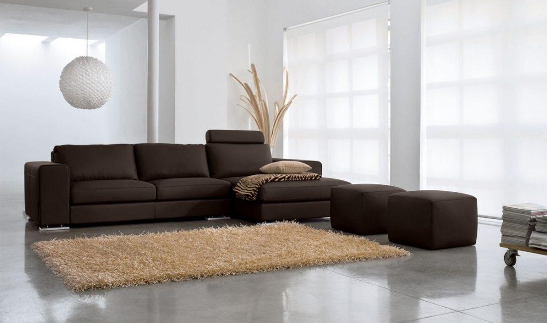 Sofa sudut coklat gelap