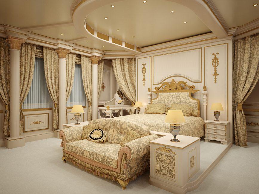Bilik tidur yang indah dalam gaya yang dicadangkan