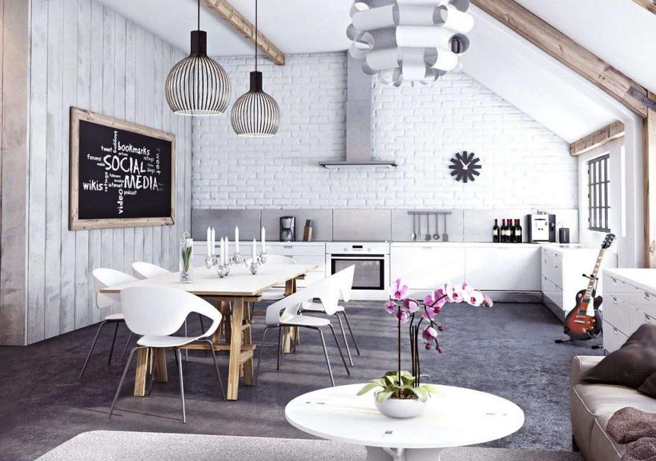 Dinding putih di dapur