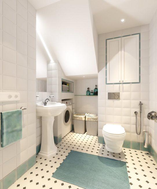 Μπάνιο σε λευκά και τυρκουάζ χρώματα