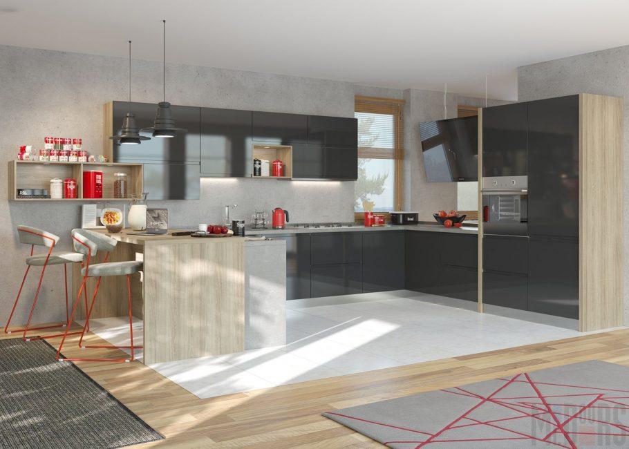 Reka bentuk dapur dalam warna merah dan hitam