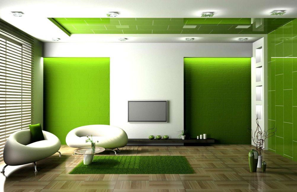 Gabungan warna hijau dan putih