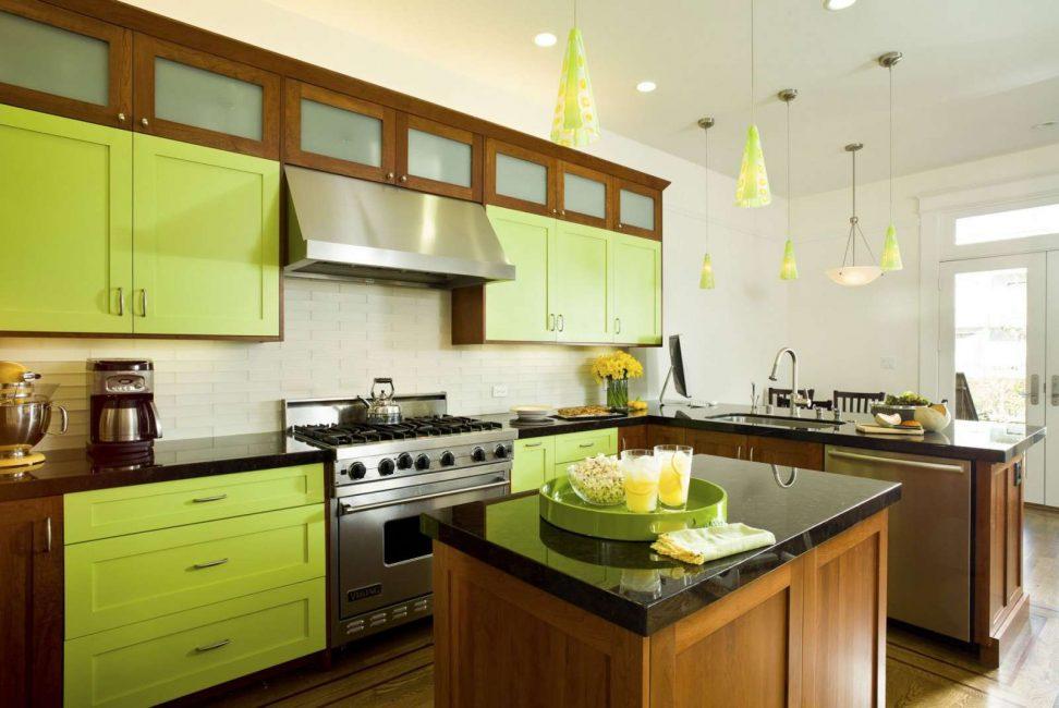 Dapur dalam warna hijau muda