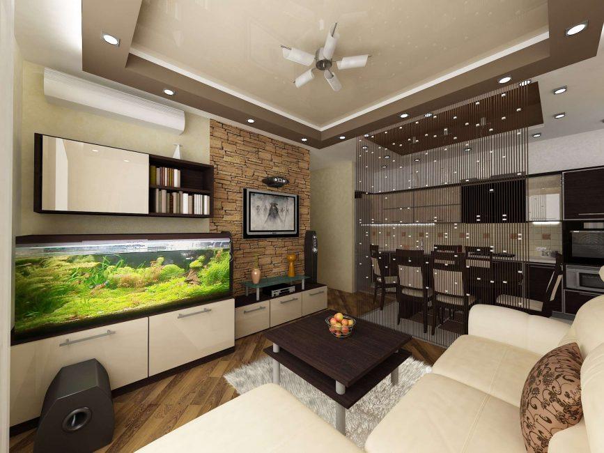Akuarium di ruang tamu - pilih tempat yang selesa