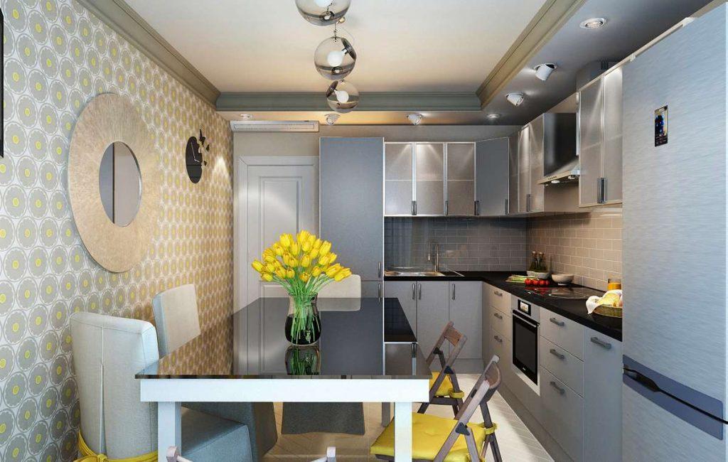 Reka bentuk dapur kecil di gaya loteng