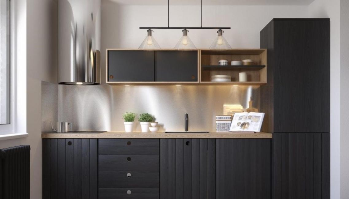 Warna hitam akan membolehkan untuk merealisasikan ruang dapur yang hebat.