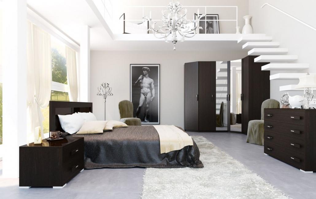 Bahagian dalaman bilik tidur dalam gaya moden