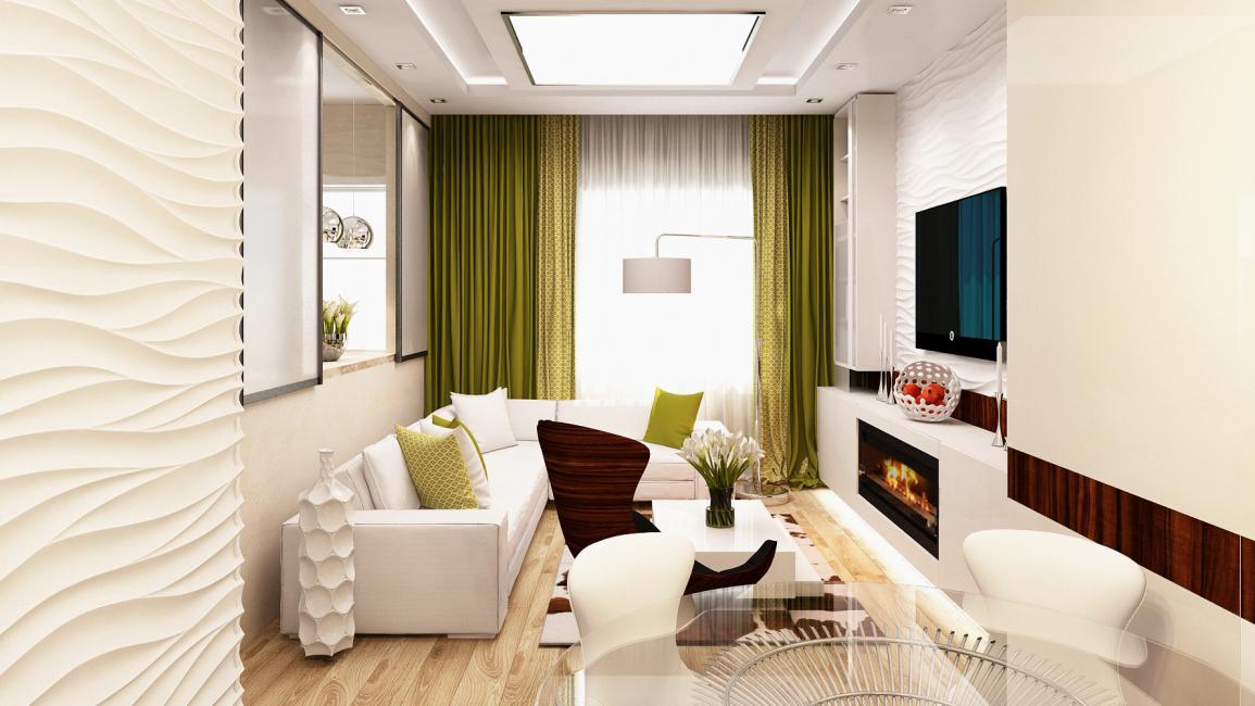 흰색의 작은 거실 디자인.