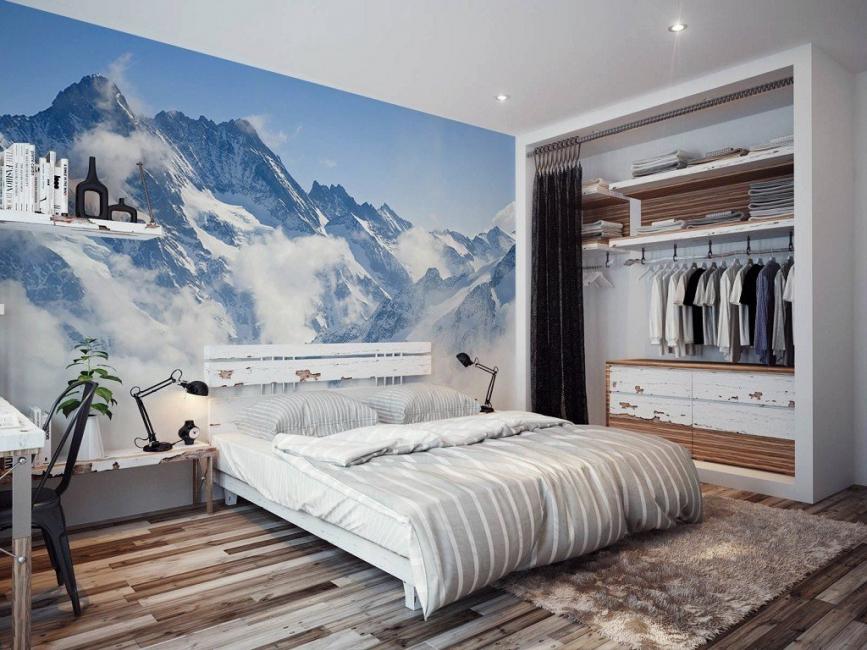 Yatak odasında dağların taklidi
