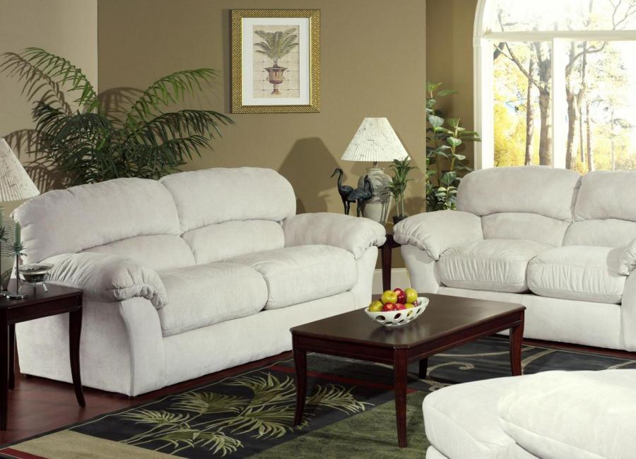 Sofa kulit dengan warna putih