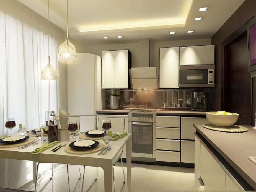 Pencahayaan dapur yang betul memerlukan kreativiti.