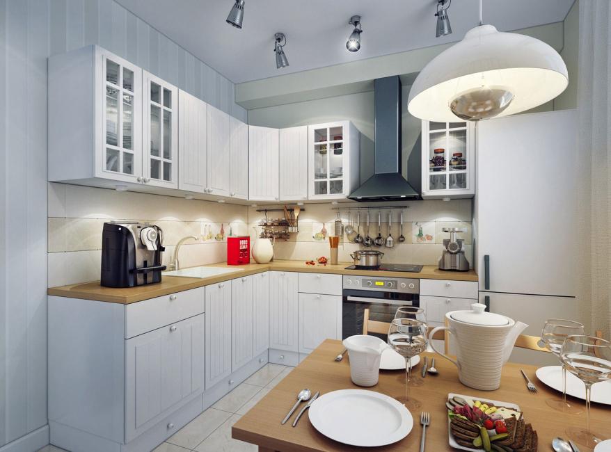 Dapur kecil dengan warna putih