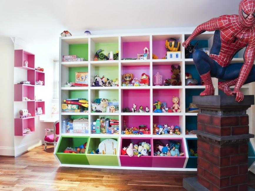 Di tapak semaian, perabot ini digunakan untuk zon atau menyimpan mainan kanak-kanak.