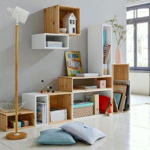 Pemilihan rak yang menarik untuk bilik pelbagai fungsi: 220 + Photo Zonasi yang mudah untuk kanak-kanak, ruang tamu, bilik mandi