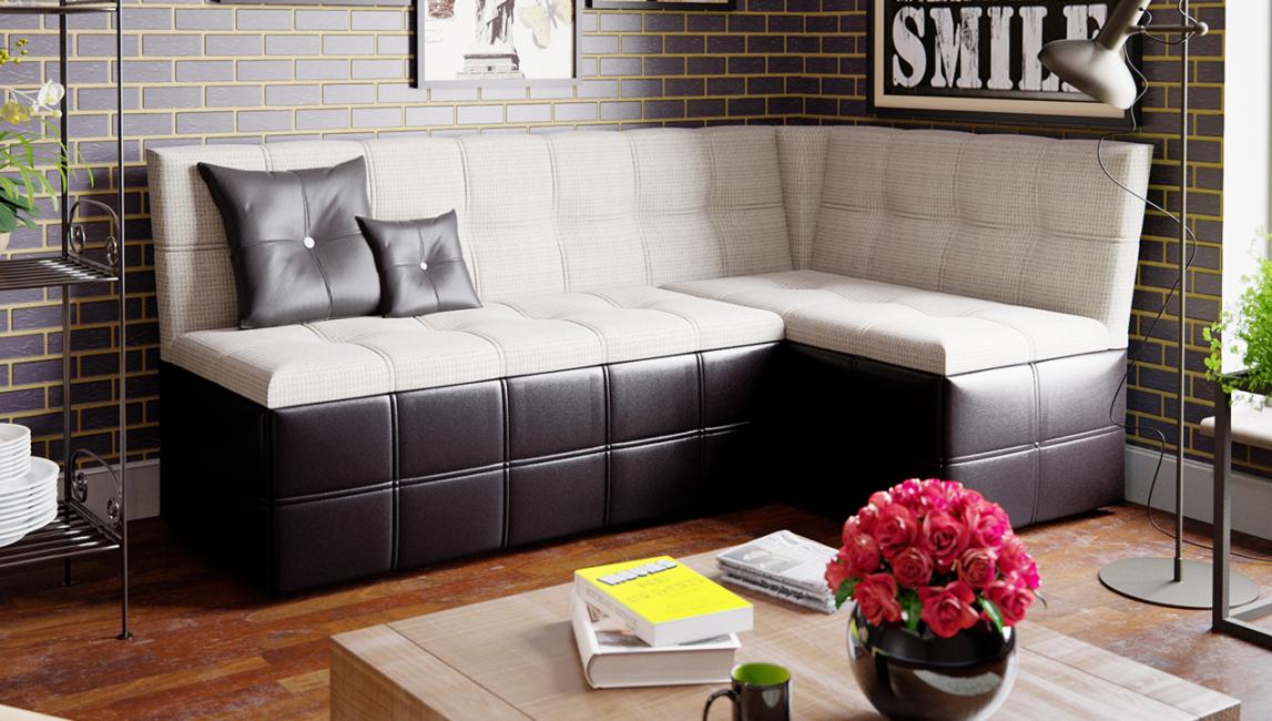 Anda boleh meletakkan sofa di dapur secara berasingan