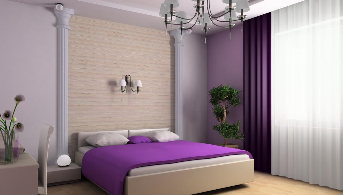 Gabungan tirai dan kertas dinding di dalam bilik tidur