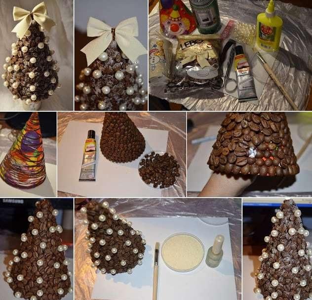 커피 크리스마스 트리의 단계적 모습