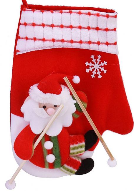 Mitaine Père Noël sur des skis
