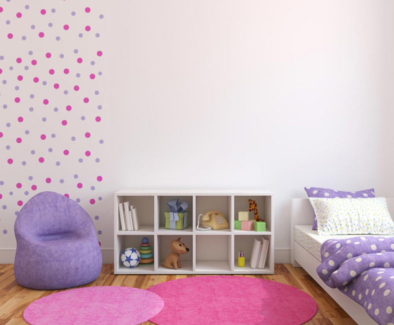 Draw attention to the wall with bright wallpaper