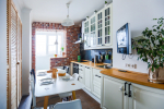 Kitchen combined with loggia: Real ways to use the place wisely. Not boring interior design (120+ Photos)