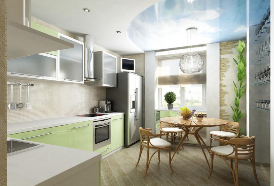 وفقا لقواعد التصميم الفني يجب تزيين المطبخ والشرفة بنفس الأسلوب.