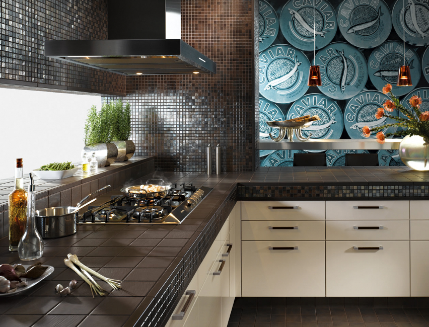 Chocolate-colored mosaic in the interior of a modern kitchen