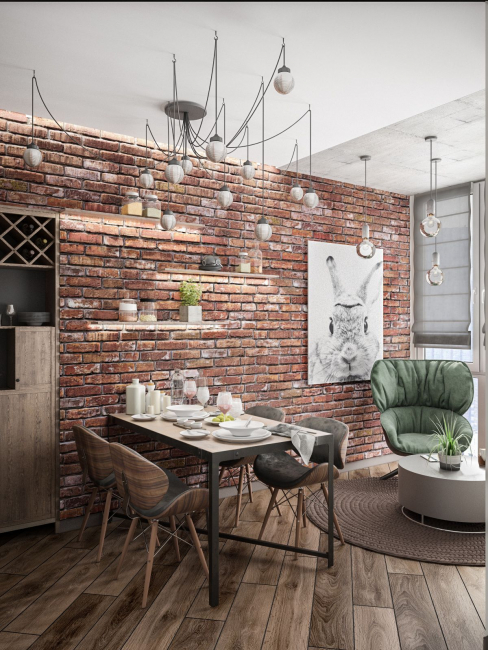 Comfortable dining area in the style of minimalism balanced interior loft