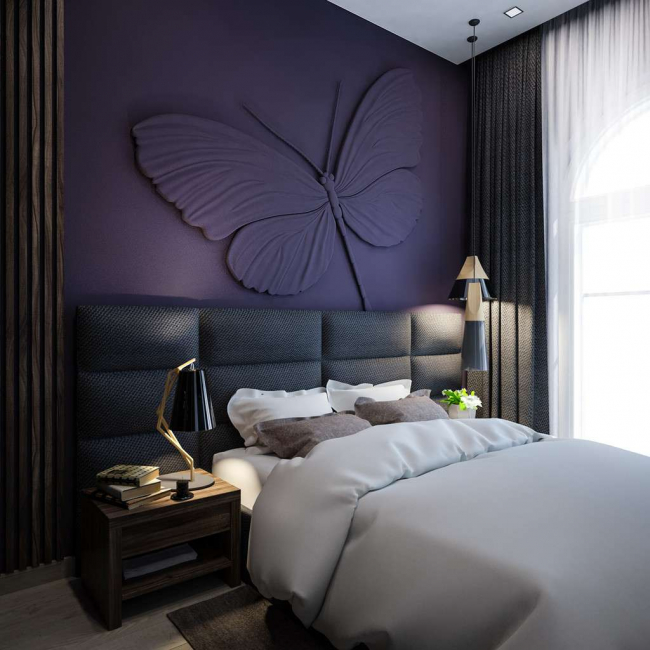 Bas-relief images in the bedroom interior