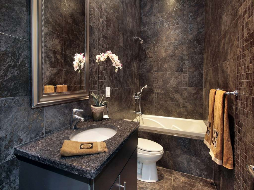Dark bathroom design
