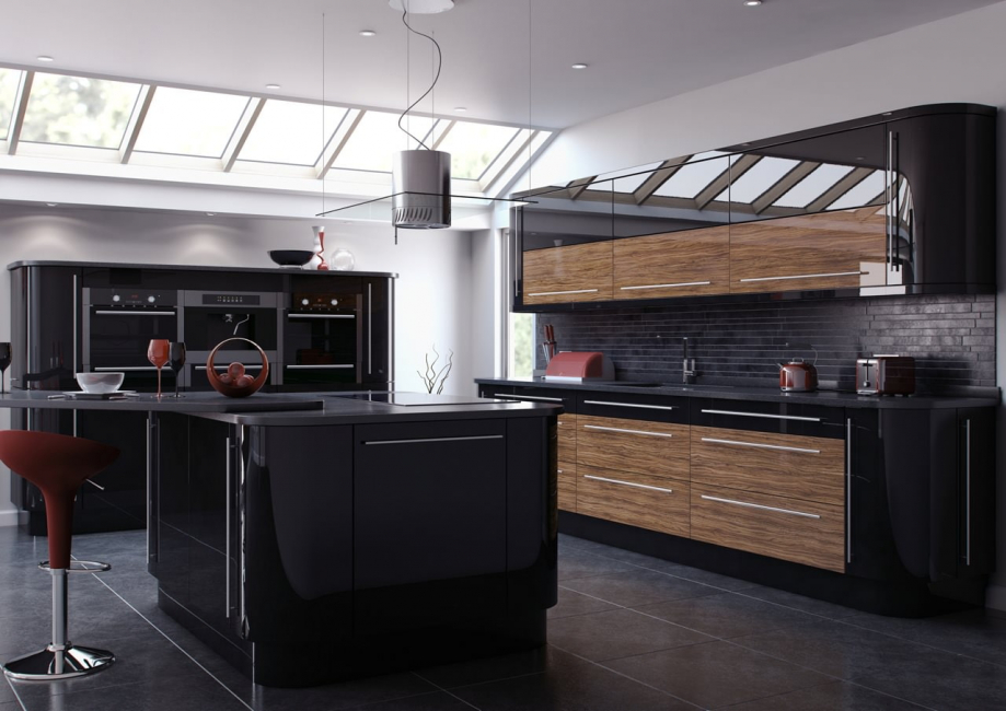 Today, according to fashion trends, it is the modern interior of the kitchen of dark colors that prevails