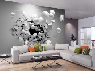 Bagaimana untuk melihat kertas dinding foto 3d di dinding: 225+ Foto dalaman luar biasa