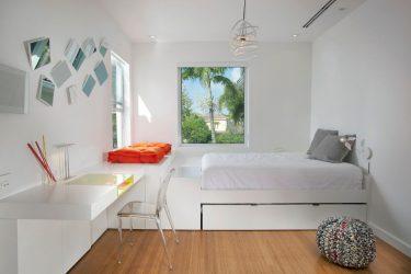 Modern tarzda yatak odası tasarımı (125+ Fotoğraf) - Beyaz perdeler / duvar kağıdı / gardırop. Bir seçim ile aşırıya kaçmayın?