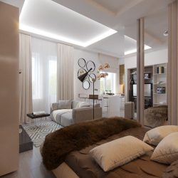 Modern Design studio apartment. 150+ Photo Interior Ideas